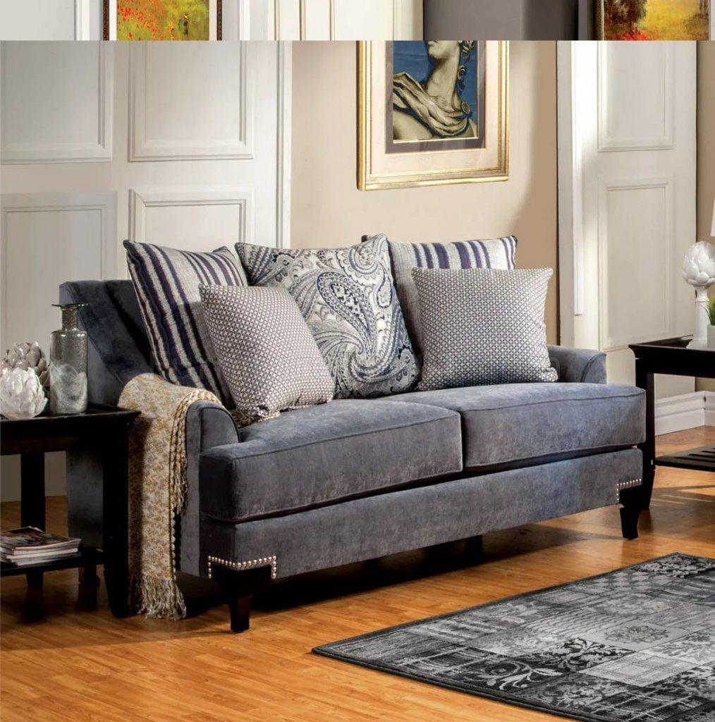 Vincenzo Sm2204 Sofa In Slate Blue Fabric W Options