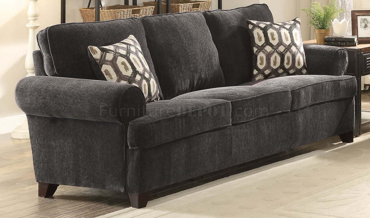 Alessia Sofa-Bed 52825 in Dark Grey Chenille by Acme w/Options