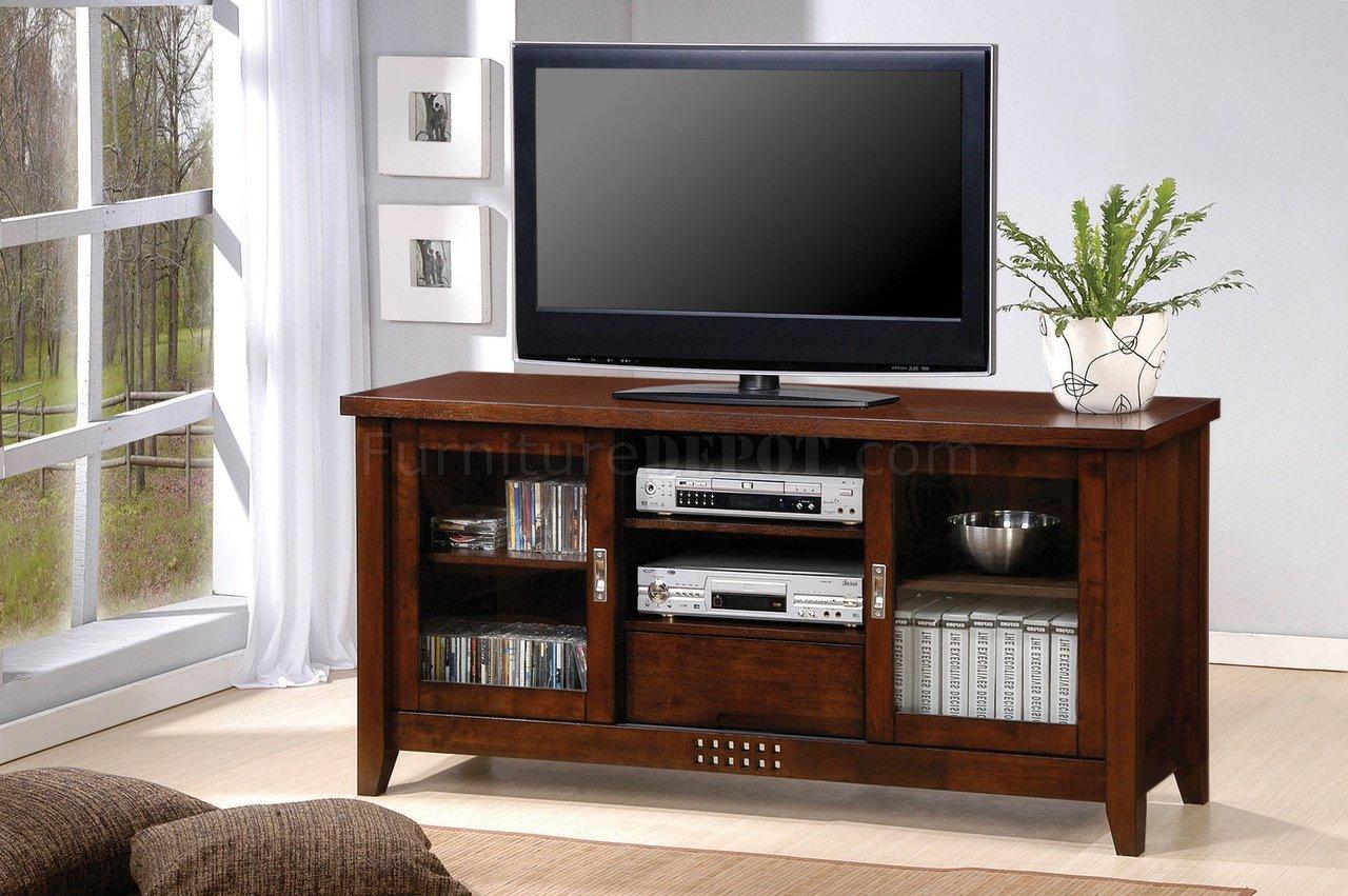 Walnut Finish Modern Tv Stand W Two Glass Doors