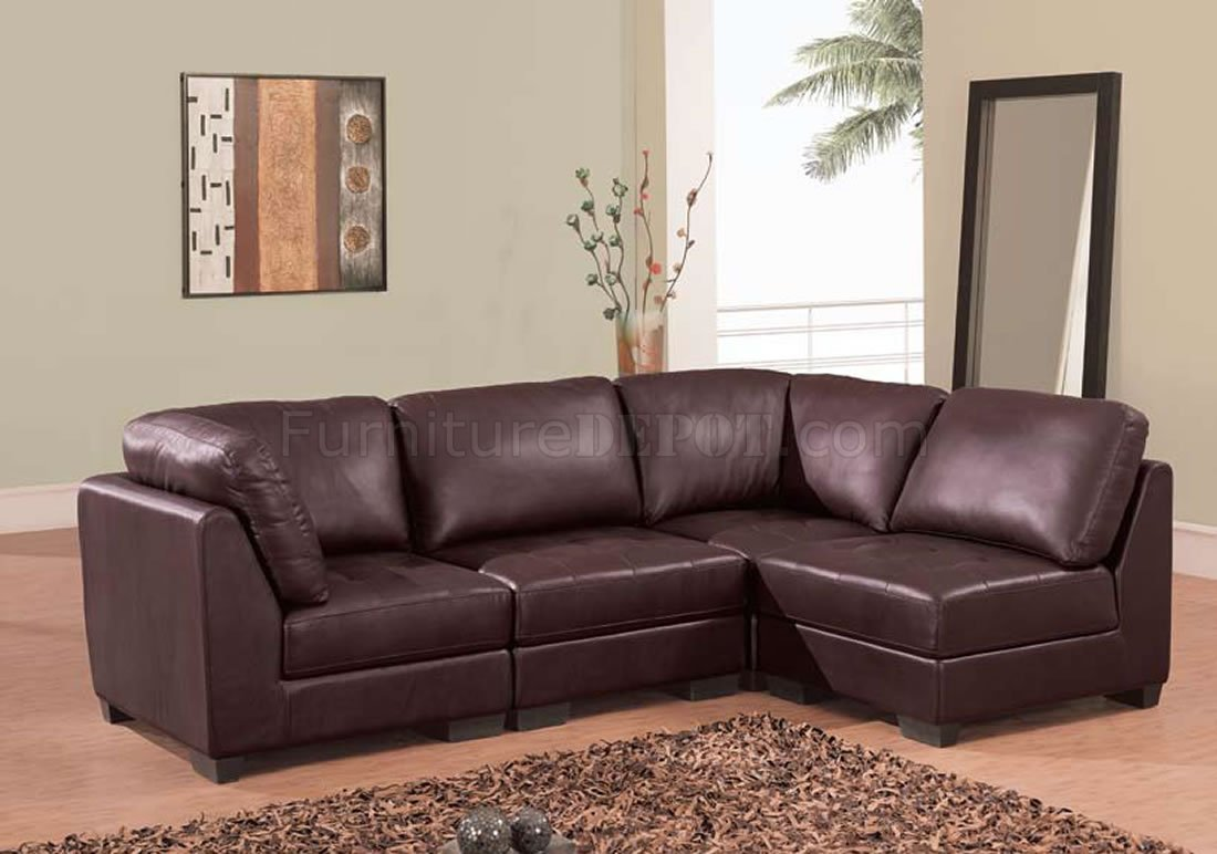 Excellent Brown Leather 4 Pc Modern Sectional Sofa W Tufted Seats Ibusinesslaw Wood Chair Design Ideas Ibusinesslaworg