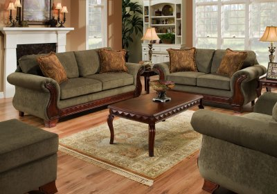 appealing traditional fabric sofas living room furniture | Green Fabric Traditional Sofa & Loveseat Set w/Carved Wood ...