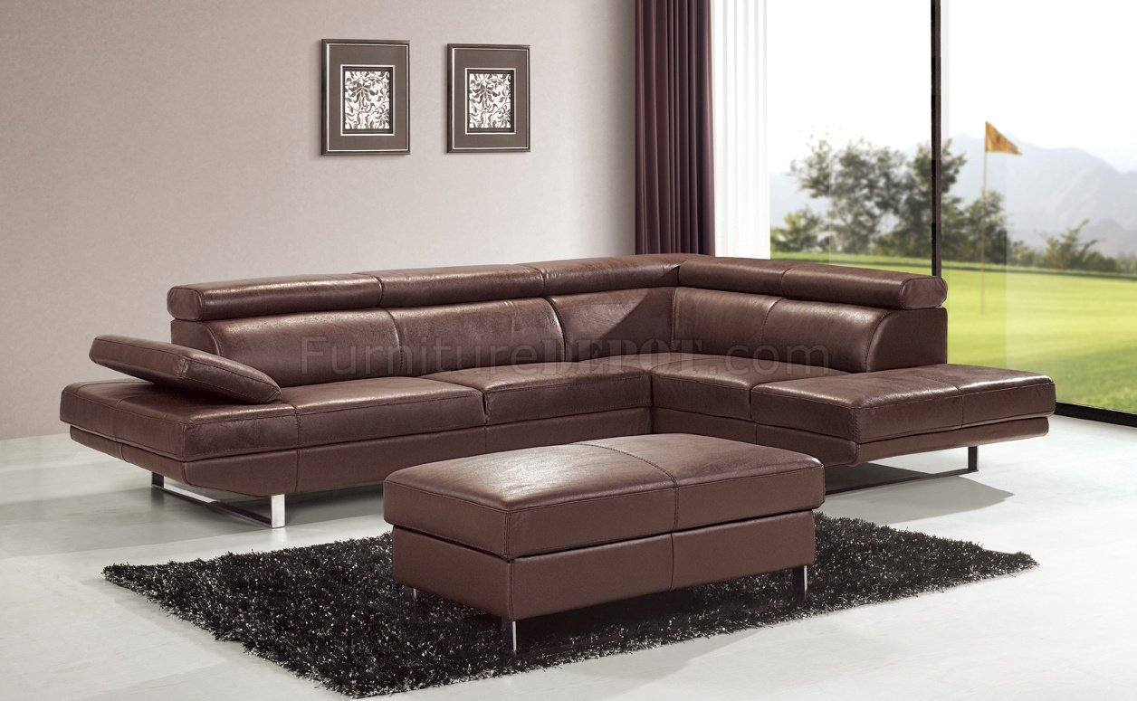 Brown Top Grain Full Leather Modern Sectional Sofa w Metal Legs
