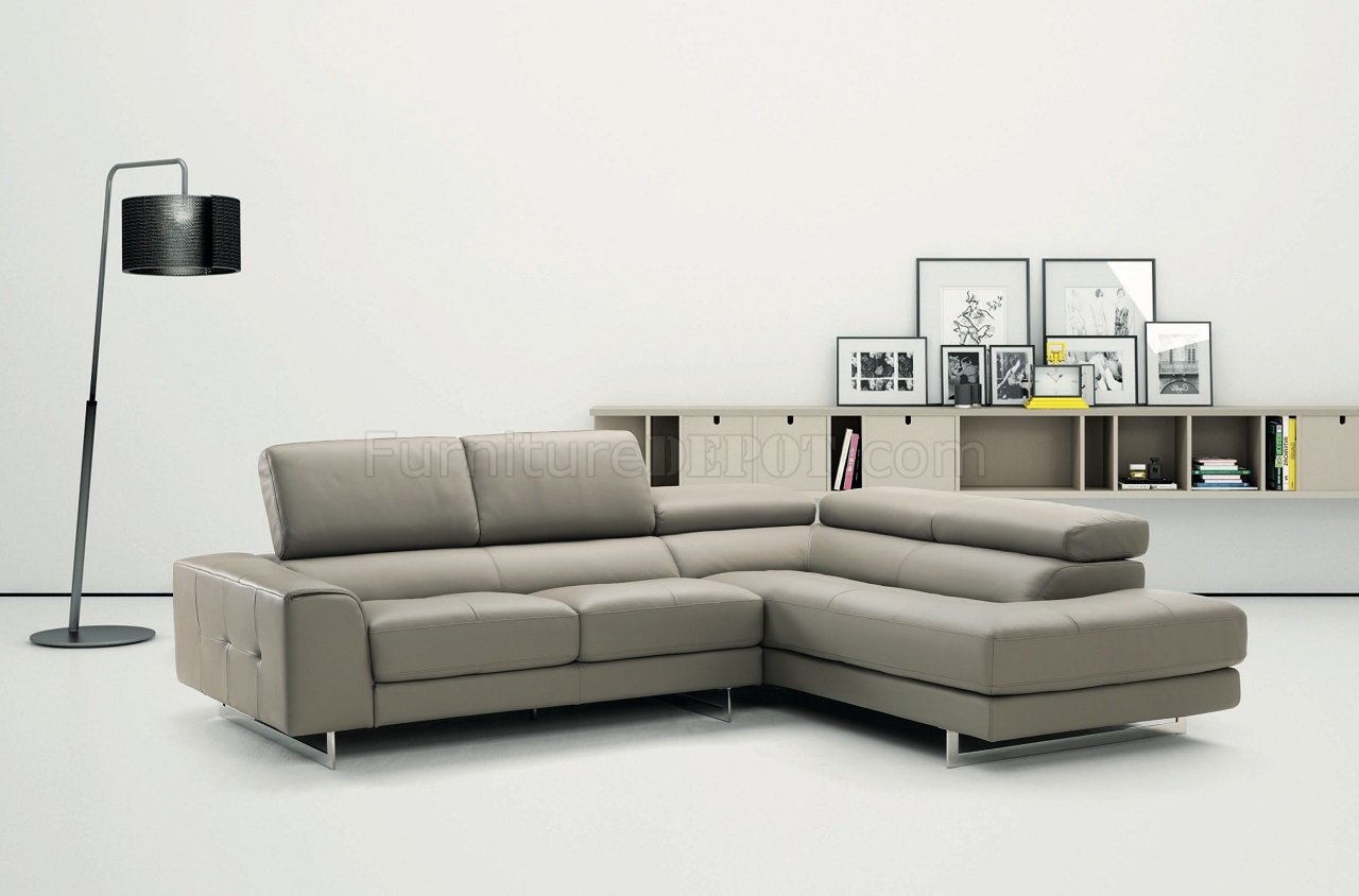 Johnny r015 genuine leather sectional sofa in light grey for Light gray leather sofa