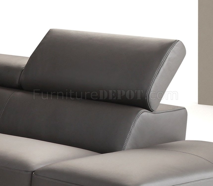 dark grey full leather modern sectional sofa w steel legs jmss sparta