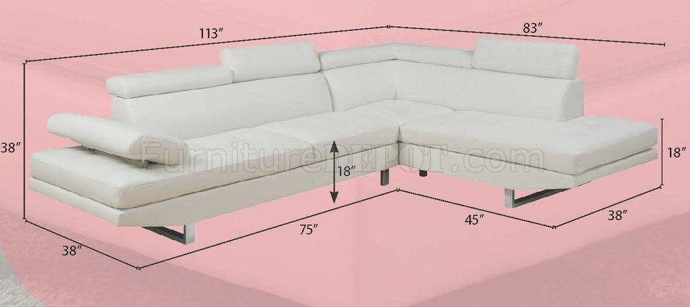 G147 Sectional Sofa in White Bonded Leather by Glory