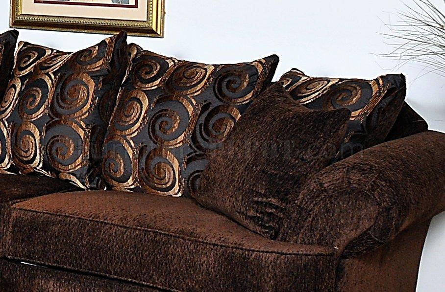 Dark Brown Baring Rust Fabric Contemporary Sofa Amp Loveseat Set