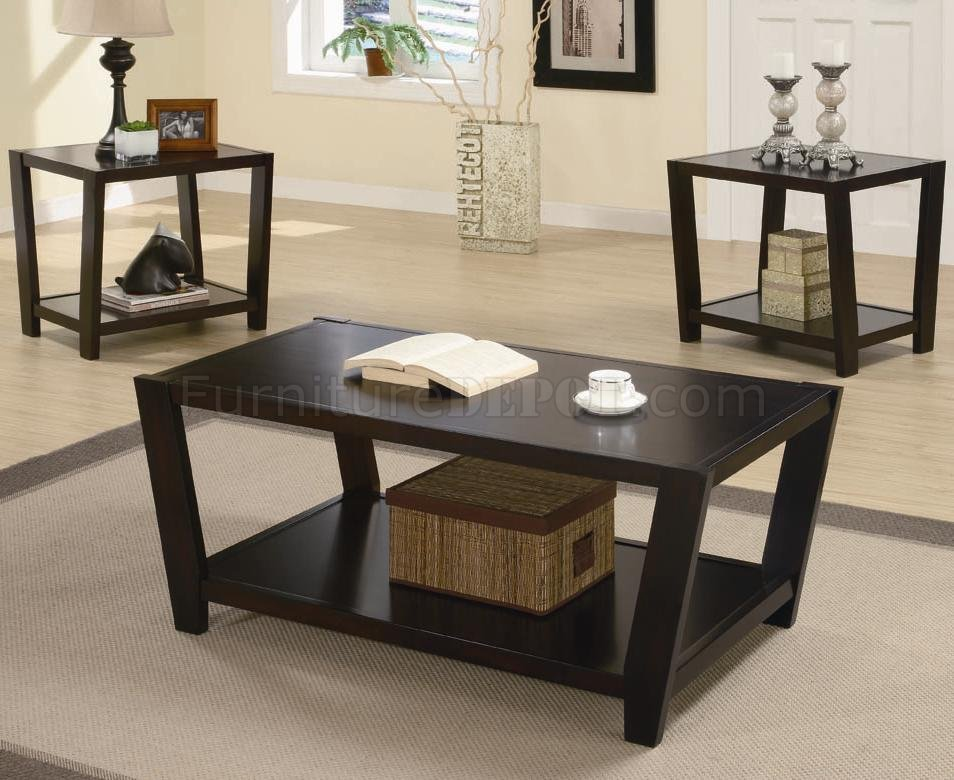 Rich Dark Cappuccino Finish Modern 3pc Coffee Table Set