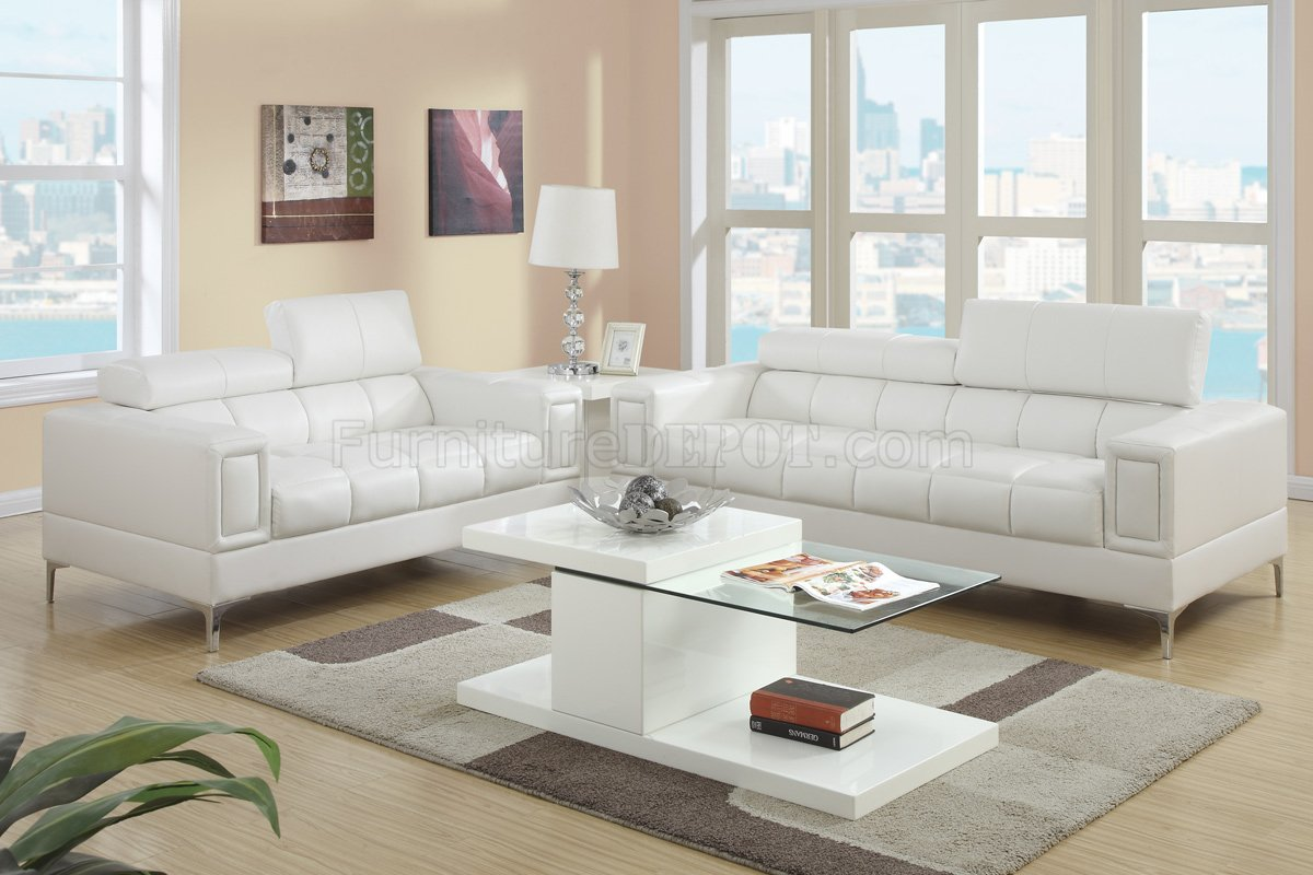 Picture of: F7240 Sofa Loveseat Set In Off White Bonded Leather By Poundex