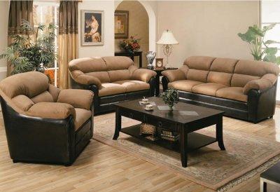 Two Tone Mocha Contemporary Living Room 501881n