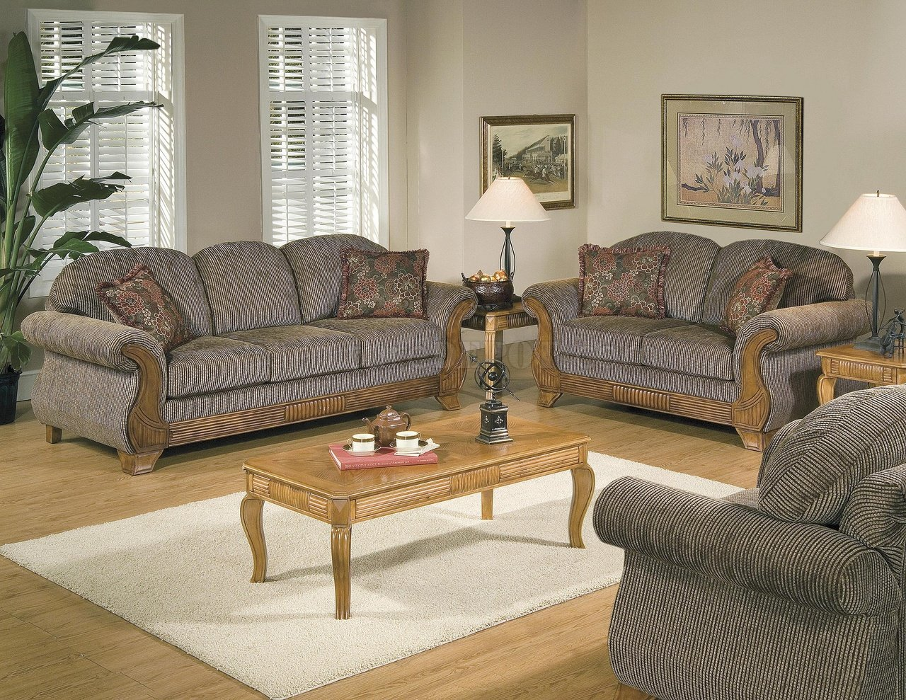 Traditional striped fabric wood trim living room for Traditional furniture