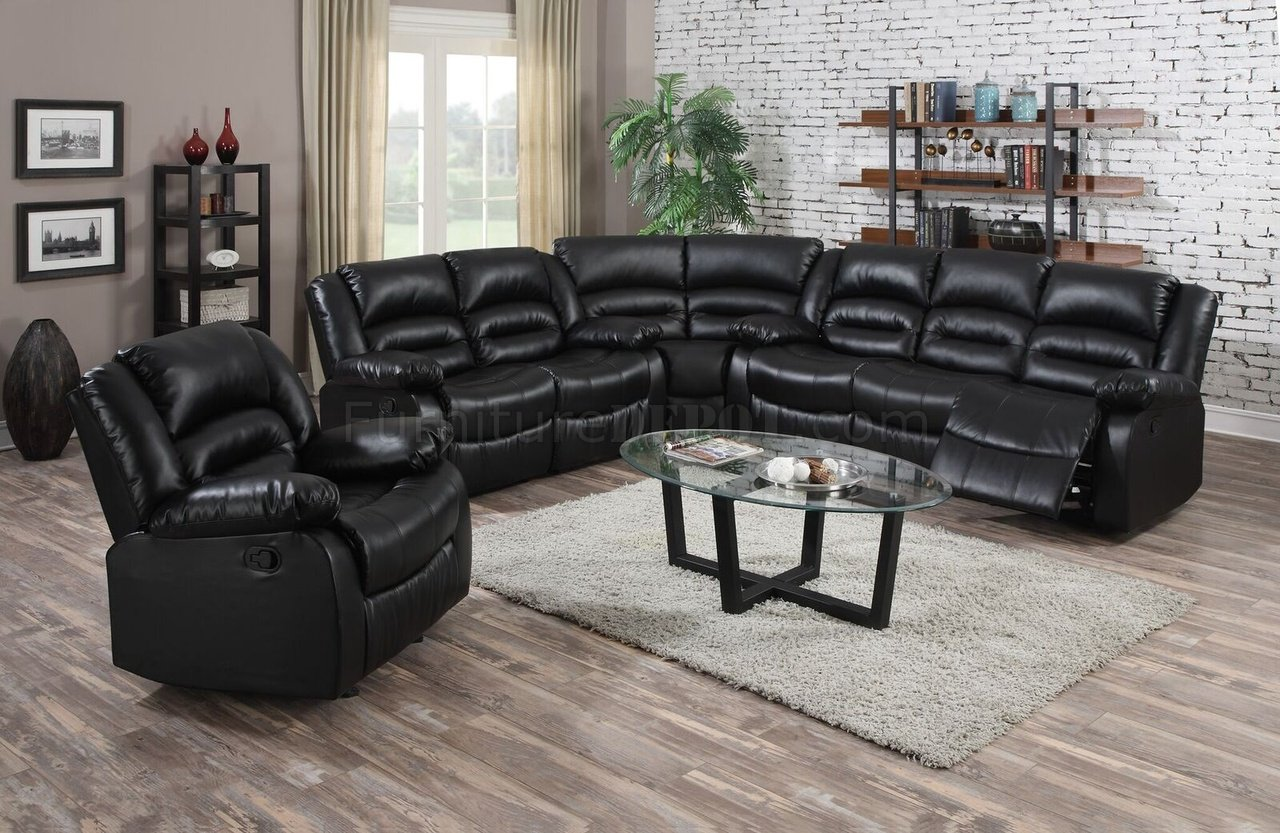9171 reclining sectional sofa in black bonded leather w options. Black Bedroom Furniture Sets. Home Design Ideas