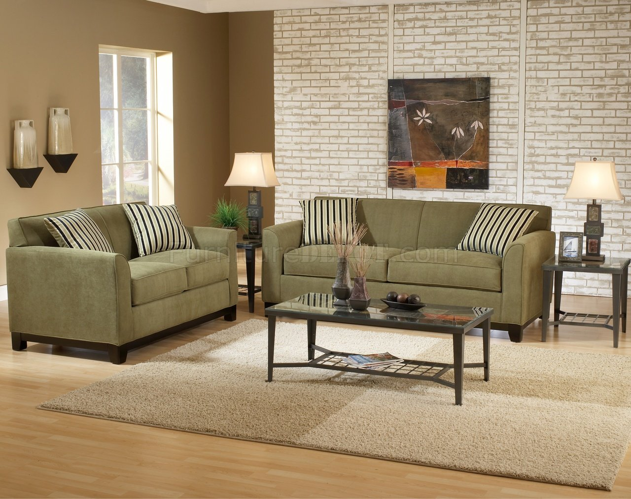 Sage fabric casual modern living room sofa loveseat set for Modern living room sets