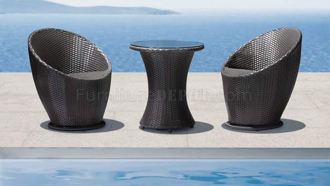 Black Weave Modern 3Pc Outdoor Lounge Swivel Chairs Set WTable
