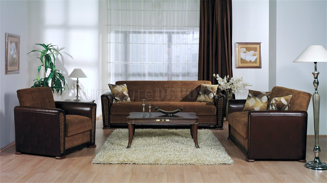 Modern Brown Brick Two Tone Living Room W Storage