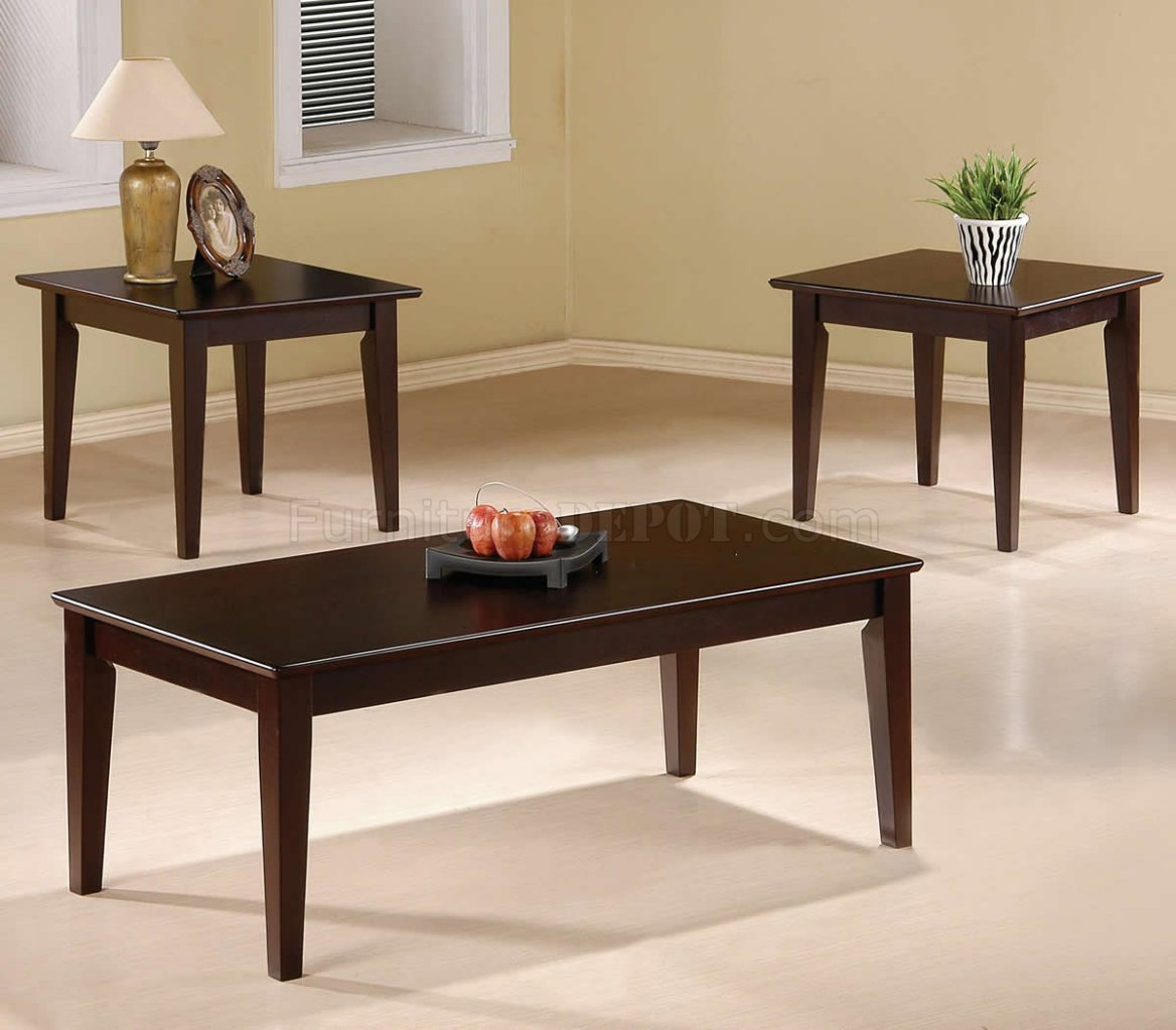 Cappuccino Finish Modern Elegant 3pc Coffee Table Set