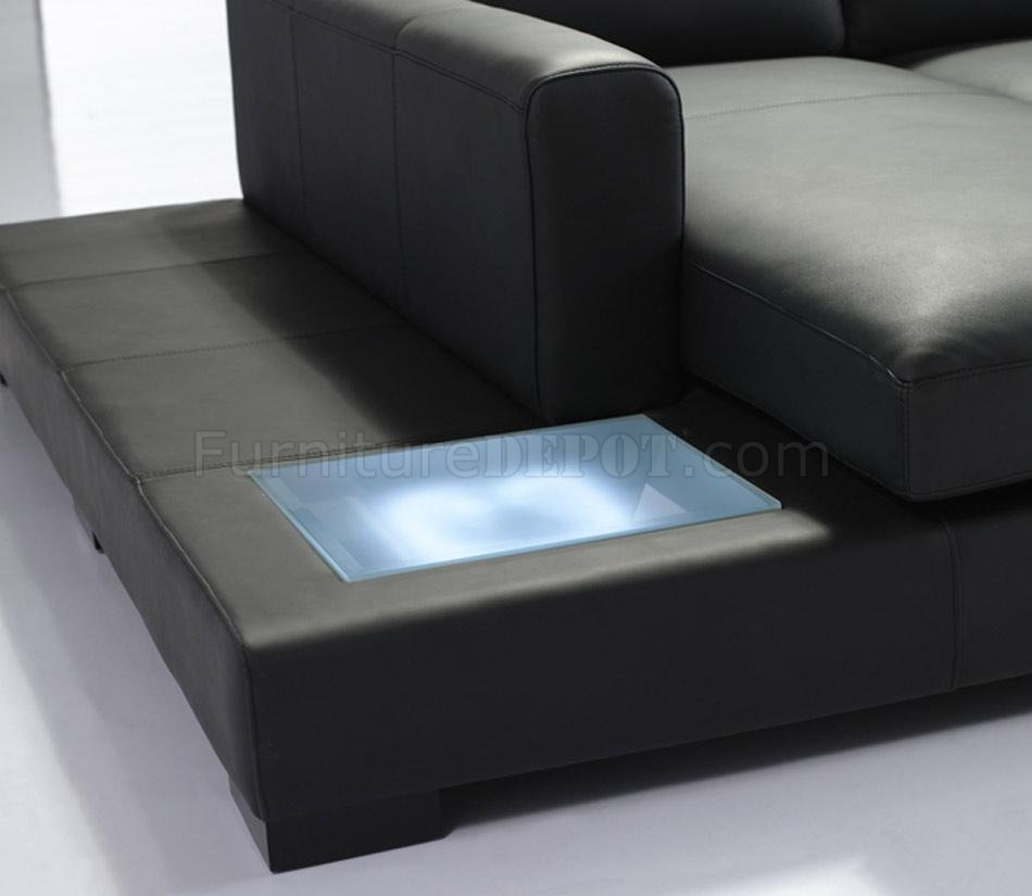 T35 Mini Sectional Sofa In Black Eco Leather W Light