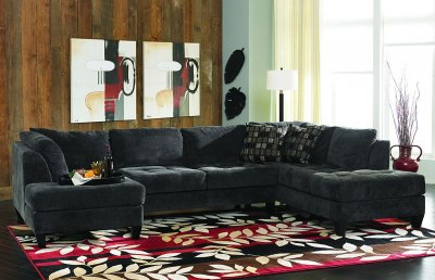 Charcoal Gray Fabric Contemporary Double Chaise Sectional Sofa