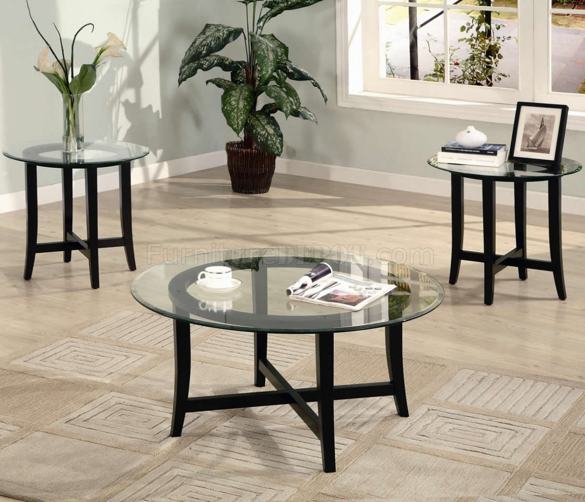 Cappuccino Finish Modern 3Pc Coffee Table Set W/Clear