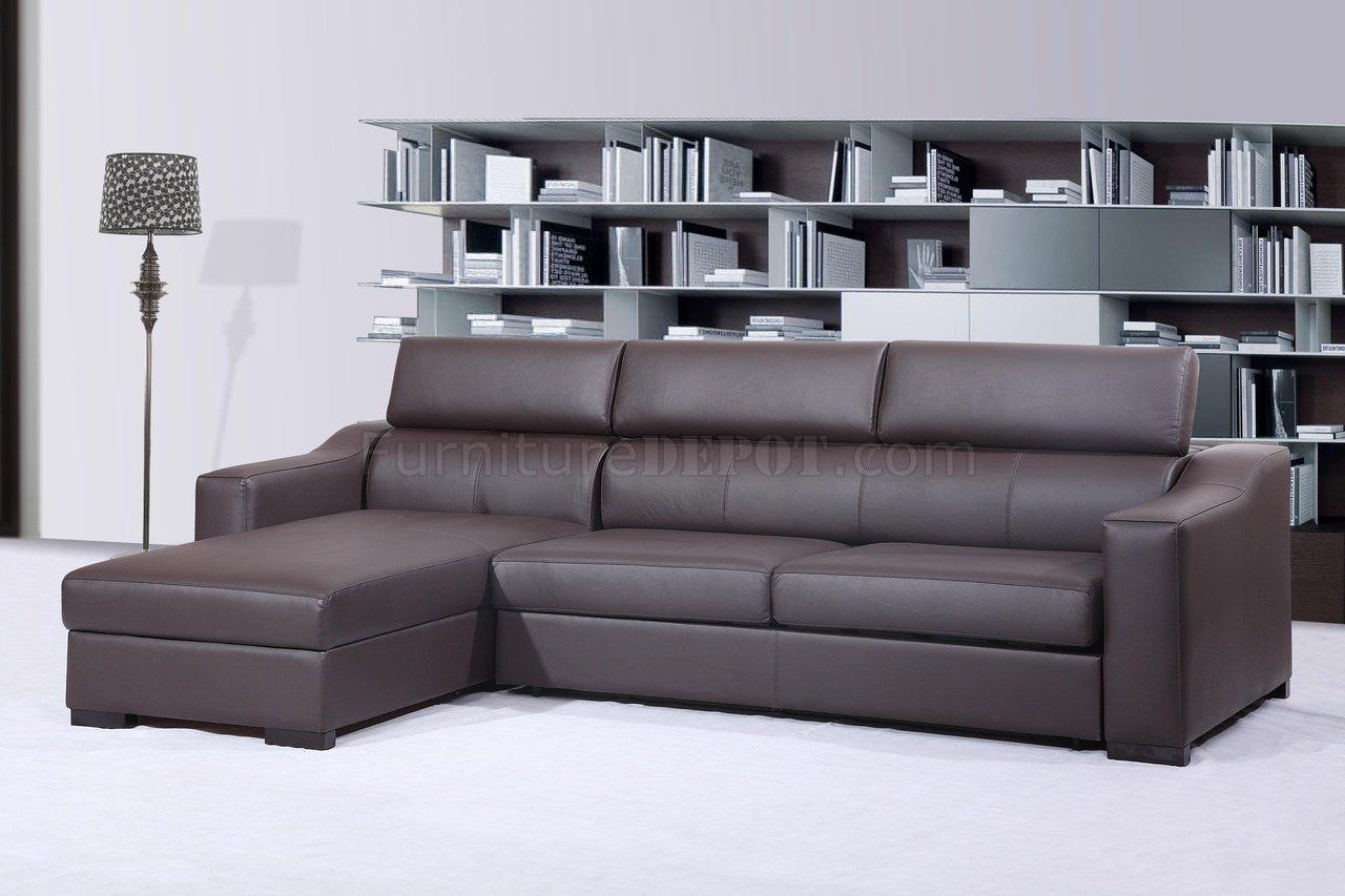 Dillards Mattress Sale Chocolate Brown Italian Leather Modern Sleeper Sectional Sofa JMSS ...