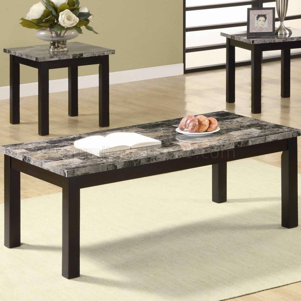 Marble Like Top Nut Brown Finish Modern 3pc Coffee Table Set
