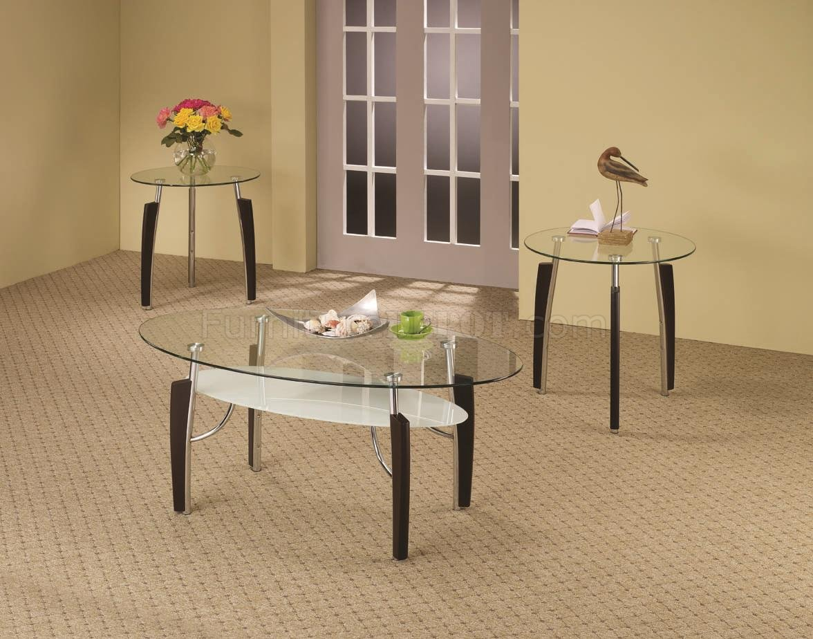 Clear Glass Top Modern 3pc Coffee Table Set W Shelf