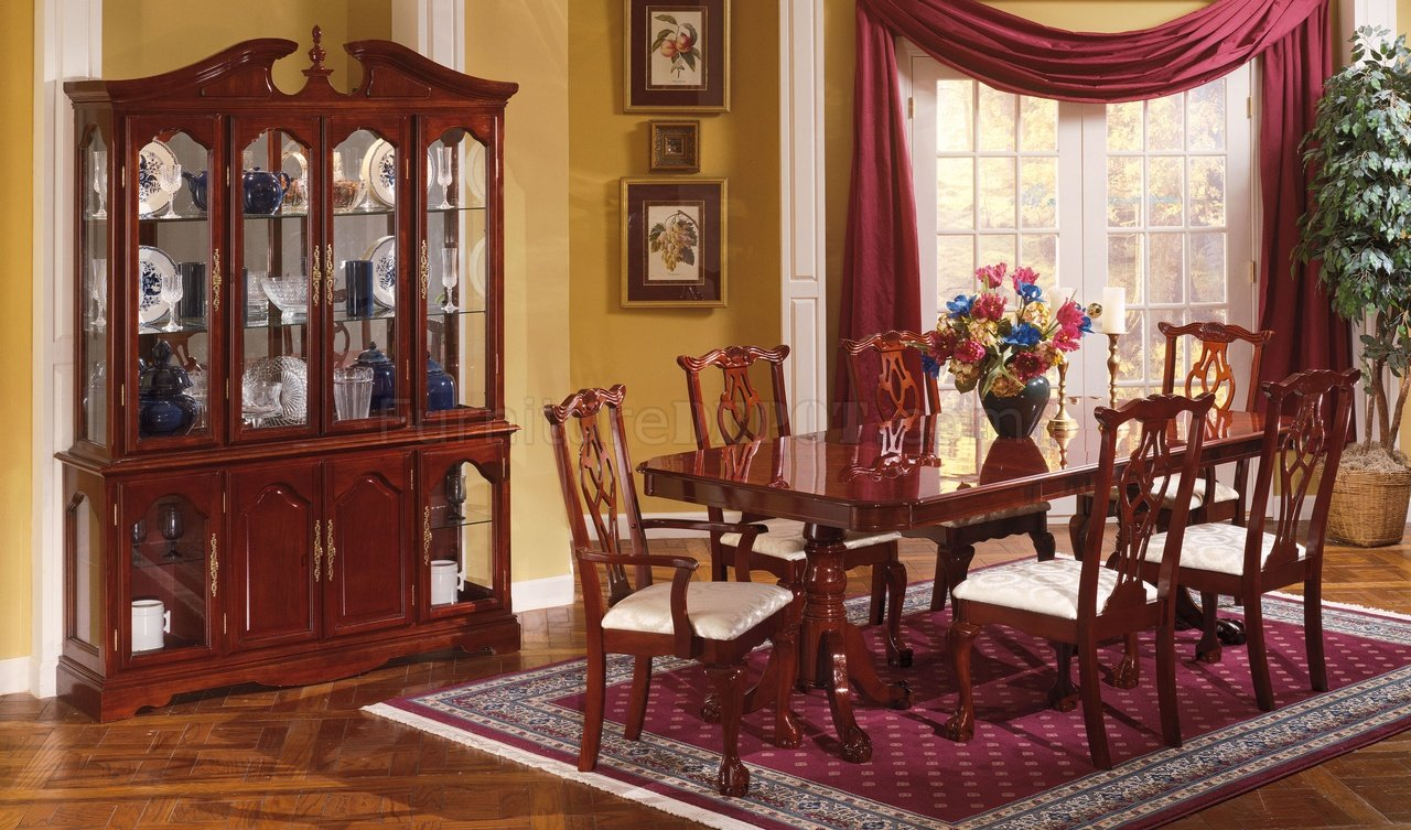 Cherry Finish Traditional Dining Room W Pedestal Table