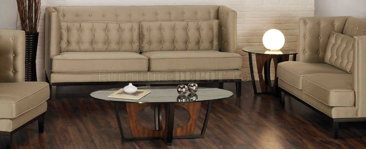 Glass Top Walnut Espresso Modern Decca Coffee Table Set
