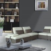 8060 Sectional Sofa White&Taupe Bonded Leather by American Eagle