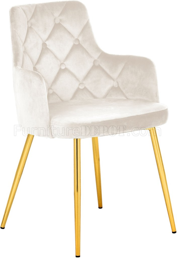 Salvatore Dining Chair 757 Set Of 2 Cream Velvet Fabric