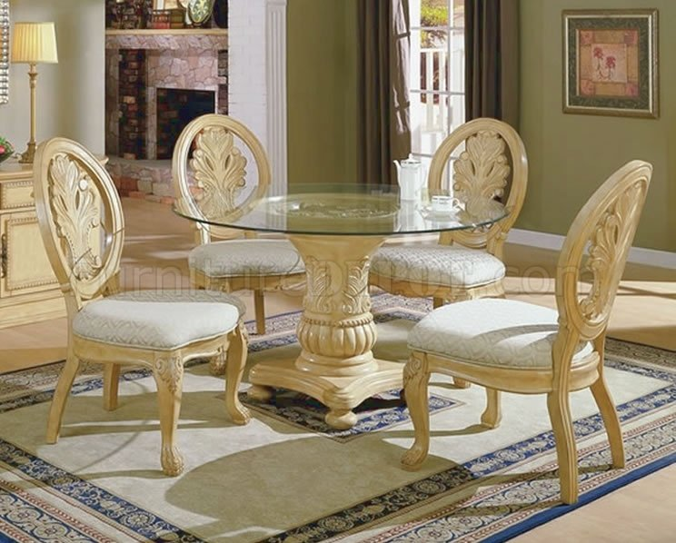 Antique White Traditional 5PC Dining Set w/Round Clear Glass Top