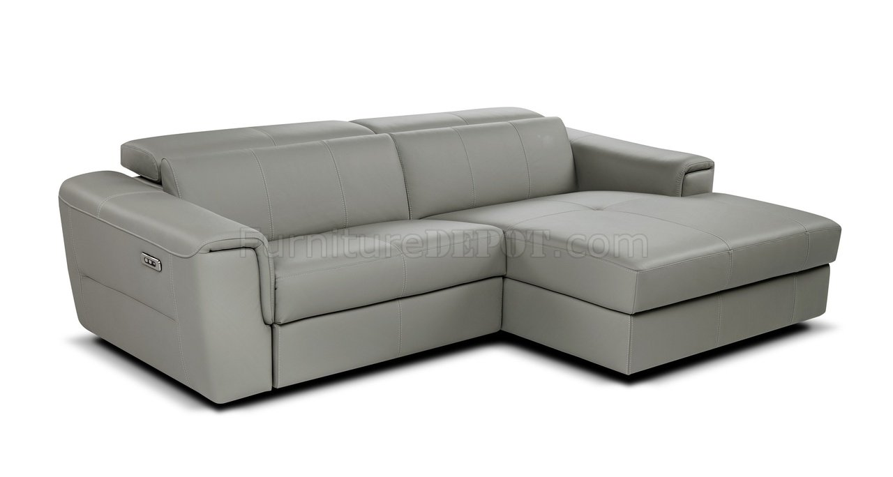 Div Sofextra Sectional Sofa In Light Grey Leather By J M