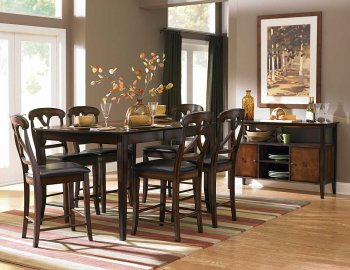Reviews Oak Finish Transitional Counter Height Dining Table W Options