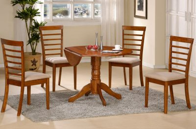 Wood Finishes  Furniture on Oak Wood Finish Round Dinette Table W Double Drop Leaf At Furniture