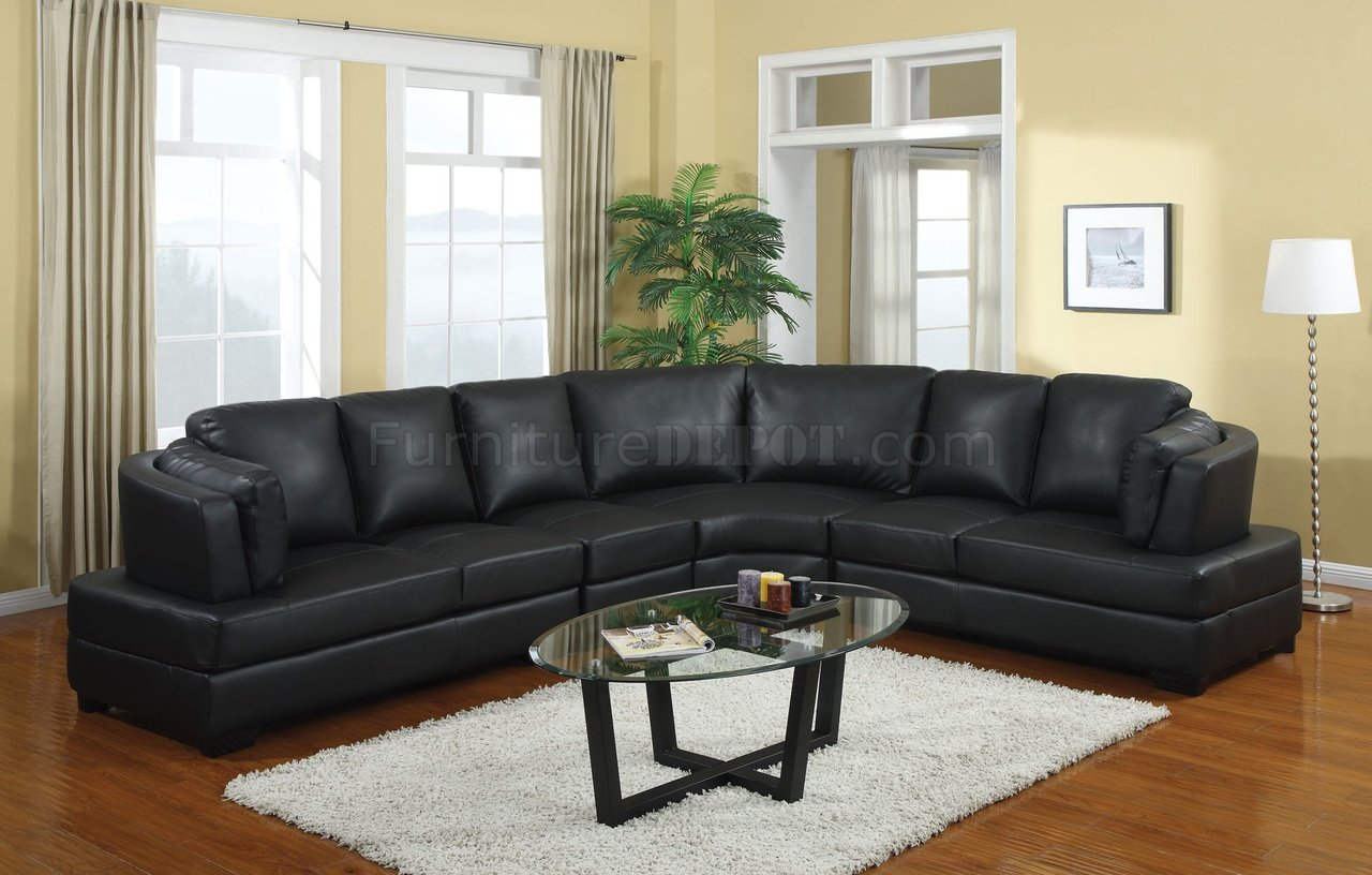 503106 Landen Sectional Sofa In Black Bonded Leather By
