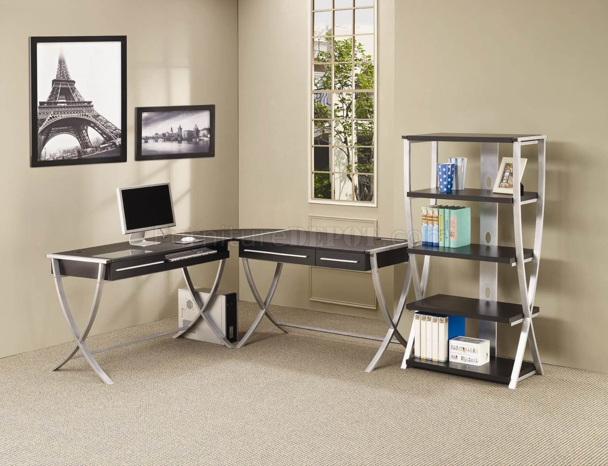 Cappuccino silver tone modern home office desk w options for Modern desks for home office