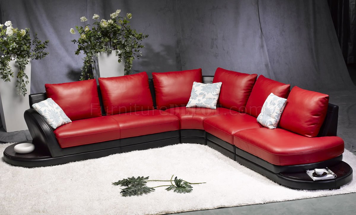 Red Black Leather Modern Two Tone Sectional Sofa