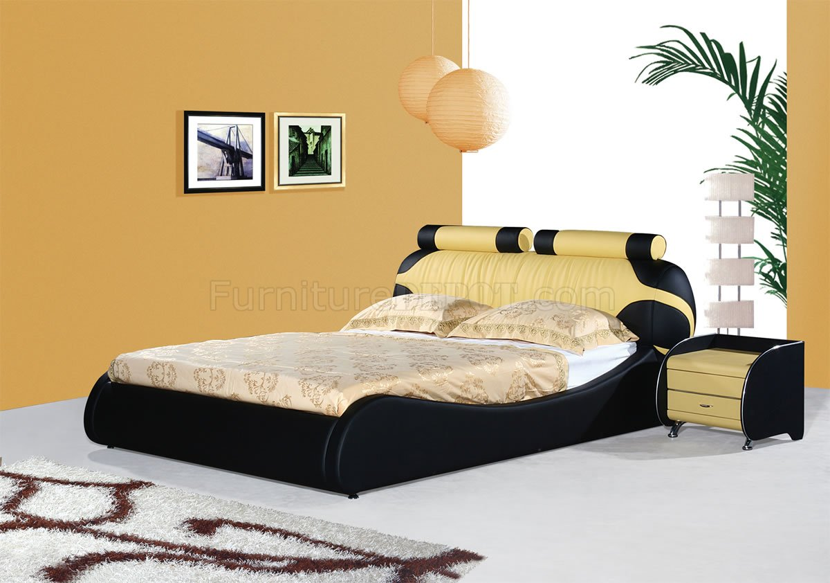 Black & Yellow Leatherette Modern Bed w/Bolster Cushions