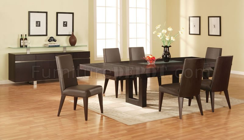 Walnut Finish Modern Dining Room W/Glass Inlay Table