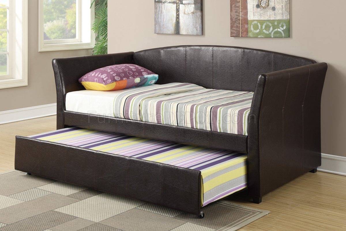 F9221 Twin Bed W Trundle By Poundex In Espresso Faux Leather