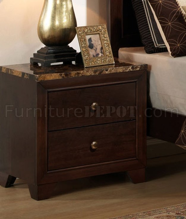 B201 Bedroom Set in Brown Cherry w Faux Marble Top Casegoods. Bedroom Set in Brown Cherry w Faux Marble Top Casegoods