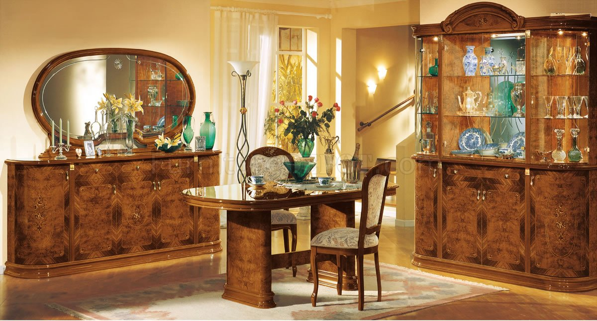 D313 Modern Dining Room Set In White Lacquer Finish: Walnut Lacquer Finish Royal Classic Dining Room W/Floral