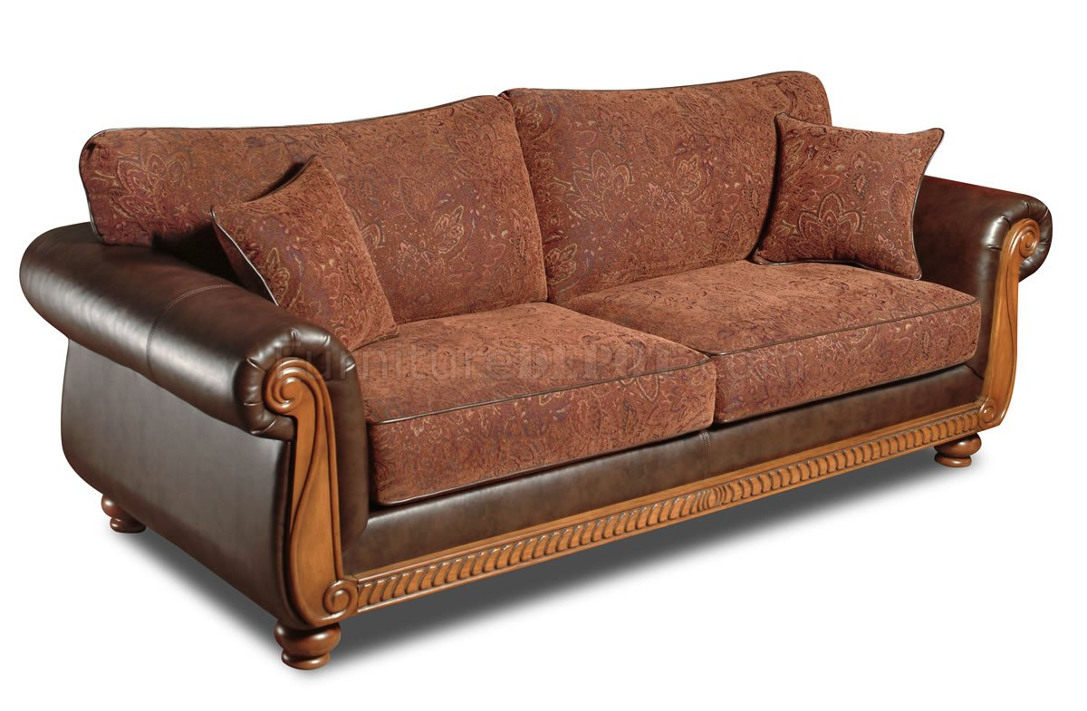 Fabric Traditional Sofa & Loveseat Set w/Faux Leather Arms