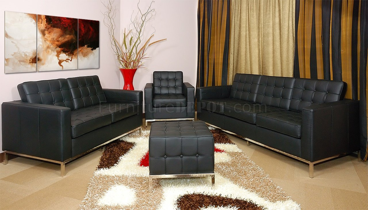 On Tufted Black Full Leather Grande Sofa Loveseat Ottoman