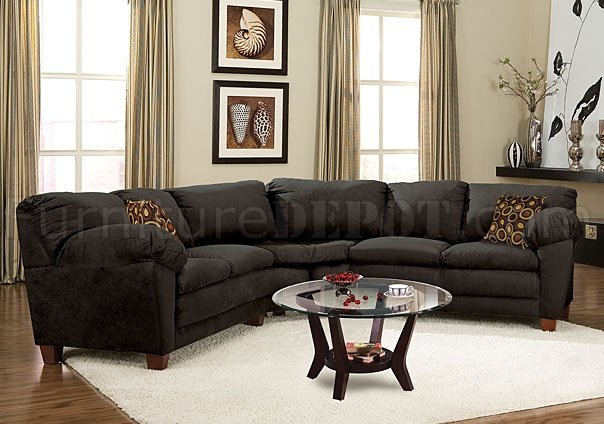 Black Micro Suede Casual Sectional Sofa W Super Soft Arm