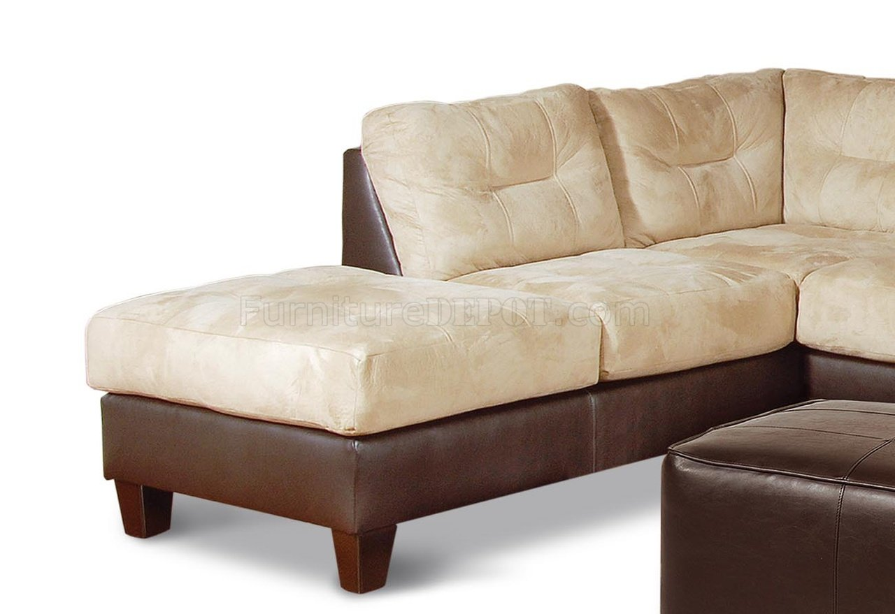 Two-Toned Contemporary Sectional Sofa w/Extra Long Chaise