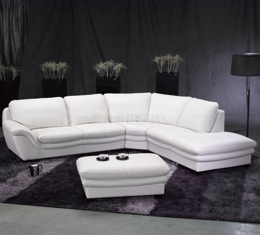 sectional sofa ottoman on White Leather Contemporary Sectional Sofa W Ottoman At Furniture Depot