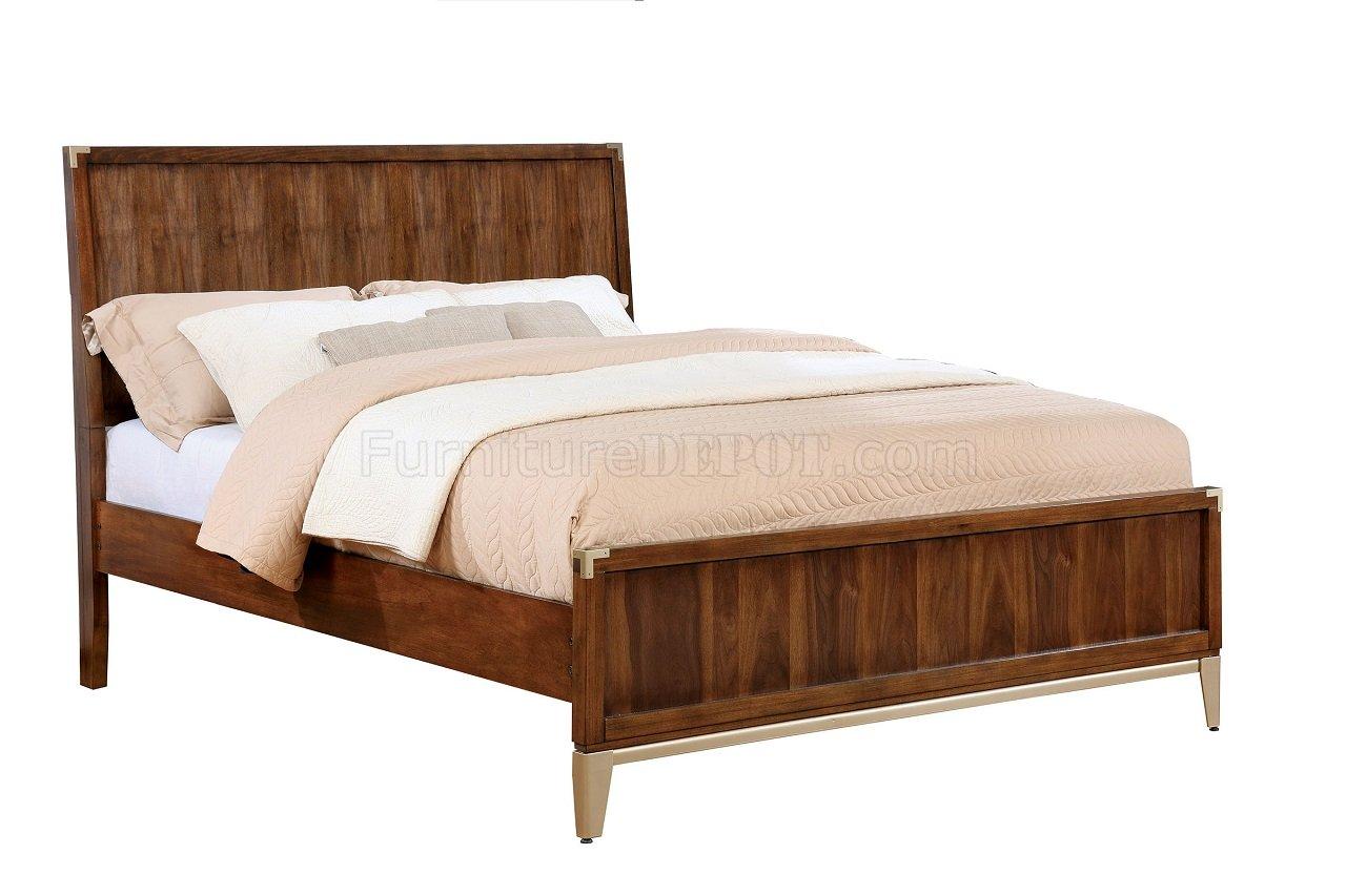 Tychus 5pc bedroom set cm7559 in dark oak w platform bed - Oak platform beds ...