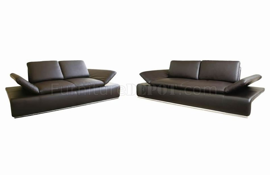 Modern Leather Sleeper Sofa & Loveseat Set w/Adjustable Arms