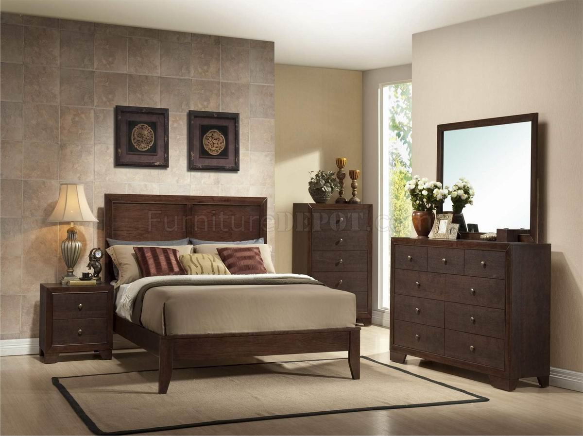 G4100 Brown Finish Modern 6pc Bedroom Set W Options