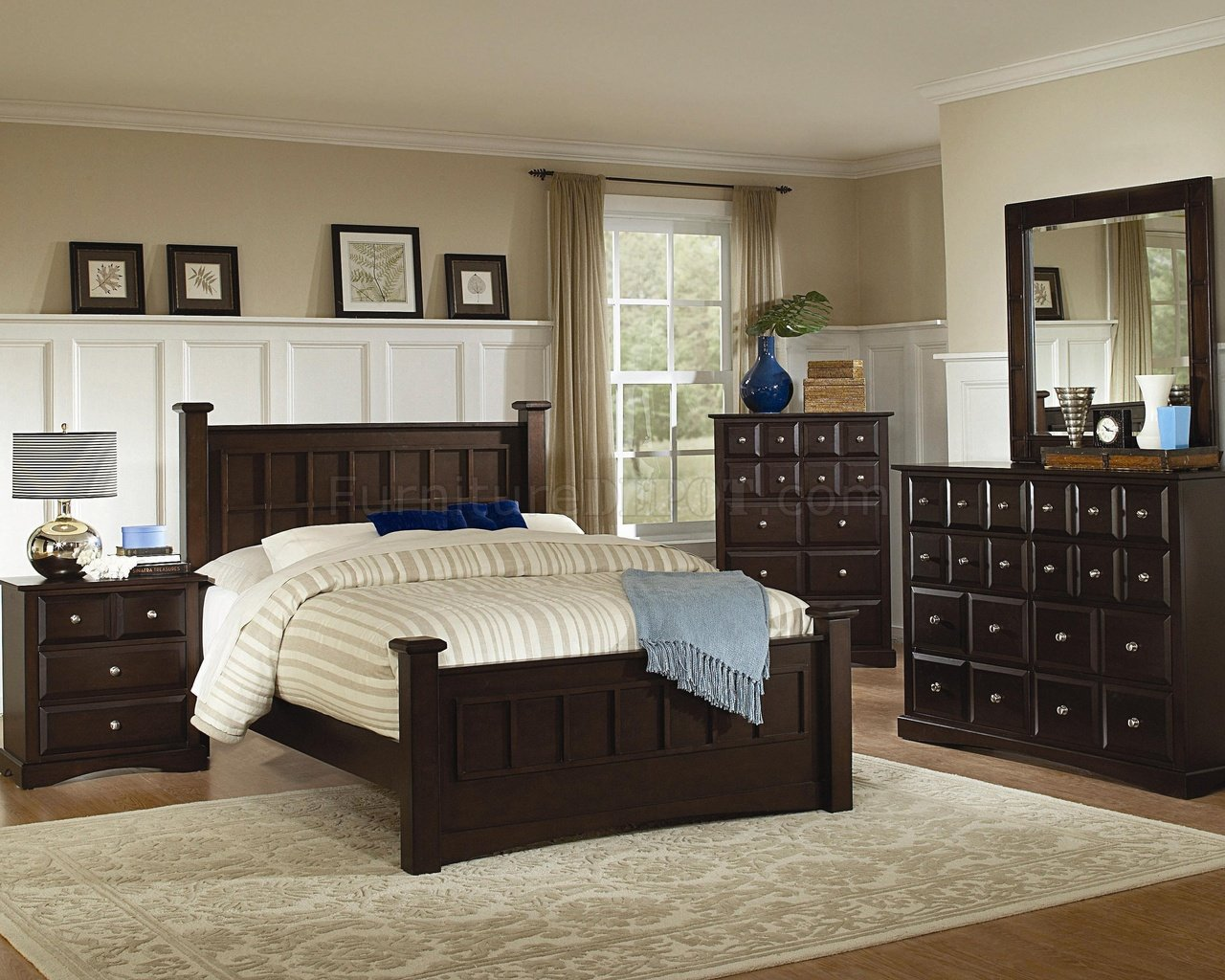 Transitional Bedroom Furniture rich cappuccino finish transitional bedroom set w/options